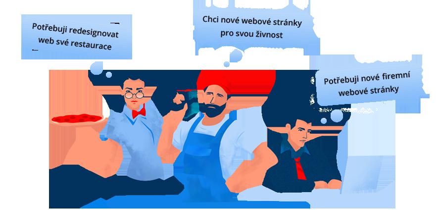 Websitez.cz | Tvorba webu - Ilustrace - Majitelka Restaurace, Živnostník, Majitel firmy